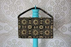 Vintage 1950's Black Velvet and Gold Stitched Clutch Purse with Beaded Accents zardozi