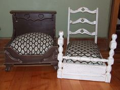Repurposed Drawers From a Dresser | Brown bed made from a footstool base, shelf brackets and a heart shelf ...