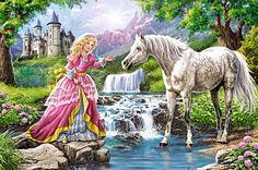 Kleine Prinzessin mit ihrem Pferd