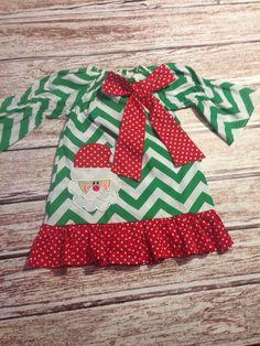 SALE Chevron Santa Christmas Dress Peasant by SweetCarolinesBtq