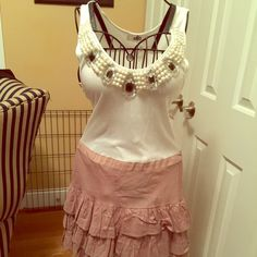 NWOT Young Fabulous & Broke Dress  NWOT Sequined/Beaded Dress. The detail on this dress is amazing! It's more for someone with a longer torso. Perfect condition with no beadwork or sequins missing. Darling ruffled skirt with tie. Young Fabulous & Broke Dresses