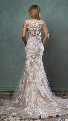 Top 100 Most Popular #Wedding Dressses #bridal amelia sposa 2016 wedding dresses beautiful cap sleeves v scallop neckline embroidered champagne gold fit flare mermaid dress pia back view