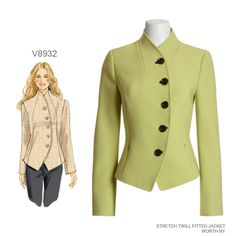 The buttoned and curved front of this jacket sets it apart from all the other jackets in your closet. Vogue Patterns V8932 sewing pattern.