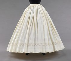 "Petticoat, 1865. 44.5"" CB. MMA, 2009.300.3291. ""This petticoat belonged to Amelia Beard Hollenback (1844-1918) who was born and raised in Brooklyn and would eventually marry the prominent financier and philanthropist John Welles Hollenback (1835-1927) in 1874. """