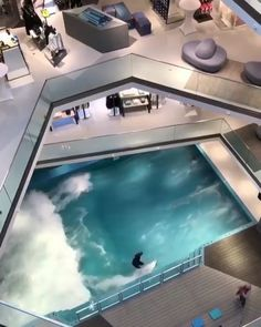 Can you imagine an indoor wave pool in your house? Can you imagine an indoor wave pool in your house? 🏄🏻♀️🏄🏽♂️ Tag your friends who would fall in love with this! The wave pool is positioned on the ground floor, of the L Surf Pool, Wave Pool, Indoor Swimming Pools, Swimming Pool Designs, Luxury Swimming Pools, Lap Pools, Backyard Pools, Pool Decks, Pool Landscaping