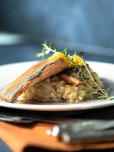 // Find the recipe for this perfect alpine salmon-troud on an orange thyme risotto. // Fisch, Lunch with Fish, Regionale Köstlichkeiten Tasty Dishes, Salmon, Low Carb, Rice, Lunch, Healthy, Ethnic Recipes, Food, Shrimp