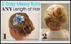 Easy Messy Buns for Short to Long Hair by Babes in Hairland  #messybuns