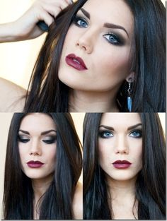 63 trendy hair color ideas for brunettes for winter dark red lips Dark Hair Pale Skin, Pale Skin Makeup, Sexy Makeup, Blue Eye Makeup, Beauty Makeup, Makeup Looks, Hair Beauty, Blue Eyes Brown Hair, Makeup Pro