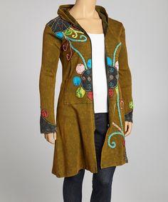 Look at this #zulilyfind! Green Flower Vine Long Zip-Up Hoodie - Plus by Rising International #zulilyfinds
