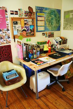 Colorful desk area.