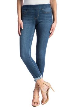 0a4ca546c5f8fa high rise crop stretch denim leggings by Liverpool Jeans Company. A sleek  and smooth-fitting alternative to traditional jeans, stretchy denim leggings  offer ...