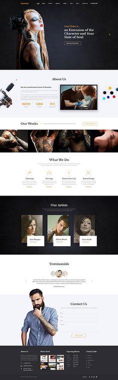 $75 - Tattoo Salon Responsive Website Template