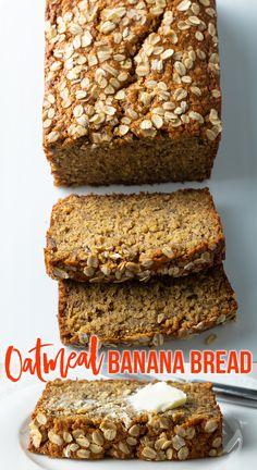 Award-Winning Oatmeal Banana Bread Recipe (with Vegan and Gluten-Free Substitutions!) #banana #oatmeal #bread #oatbread #oatmealbread #bananabread @glutenfree #vegan #healthy #breakfast #baking #quickbread Banana Oatmeal Recipe, Oatmeal Banana Bread, Homemade Banana Bread, Gluten Free Banana Bread, Easy Banana Bread, Healthy Banana Bread, Healthy Bread Recipes, Oatmeal Recipes, Banana Bread Recipes