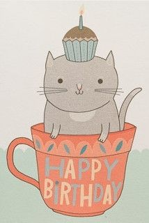 Teacup Cat - Birthday Card