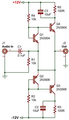 Electronics Basics, Electronics Projects, Electronic Circuit Design, Diy Guitar Pedal, Electronic Schematics, Electrical Wiring Diagram, Electrical Projects, Circuit Diagram, Audio Amplifier