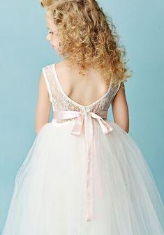 FATTIEPIE jane ivory Flower Girl Dress Flower Girl Outfits, Ivory Flower Girl Dresses, Illusion Dress, Illusions, Knot, Wedding Dresses, Lace, Flowers, Color