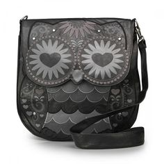 Black Owl With Heart Eyes Crossbody Bag - Loungefly - Brands