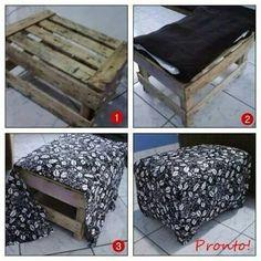 Caja de madera convertida en un asiento con tan sólo forrarla con tu tela favorita.