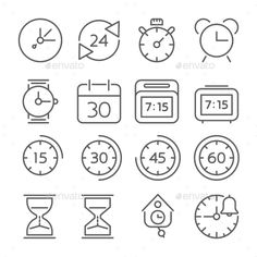 Time And Clock Icons, Flat Design, Thin Line Style #design Download: http://graphicriver.net/item/time-and-clock-icons-flat-design-thin-line-style/13343666?ref=ksioks