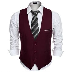 9,49$ COOFANDY Men's Top Designed Business Slim Fit Skinny Vest Waistcoat