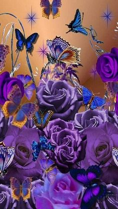 Butterfly Ringtones and Wallpapers - Free by ZEDGE™ Purple Butterfly Wallpaper, Flower Phone Wallpaper, Butterfly Flowers, Flower Wallpaper, Beautiful Butterflies, Flower Art, Gothic Wallpaper, Fall Wallpaper, Wallpaper Backgrounds