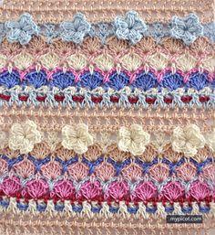 Multi-coloured Flower Shell Stitch @ MyPicot - Free crochet pattern