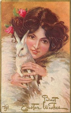 T Bieletto~Pretty Brown-Eyed Brunette~Fur Coat~Cuddles White Easter Rabbit~Embos