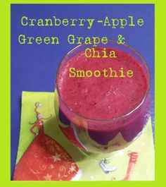This Cranberry-Apple, Green Grape and Chia Smoothie is tart, but refreshing! I add a packet of stevia (Sweet Leaf brand) just to gi. Smoothie Recipes, Smoothies, Green Grapes, Stevia, Tart, Delish, Gluten Free, Sign, Apple