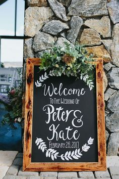 Rustic chalkboard art wedding welcome sign