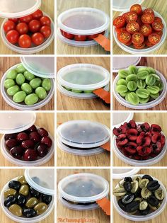 Cut Cherry Tomatoes, Grapes, Olives, & Cherries in seconds. All you need are two plastic lids and a knife. Cooking 101, Cooking Recipes, Healthy Recipes, No Cook Meals, Kids Meals, Good Food, Yummy Food, Baking Tips, Cherry Tomatoes