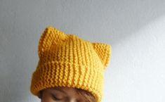 Cat Ears Hat Knit Cat Ear Beanie Cat Beanie Cat Hat by bysweetmom