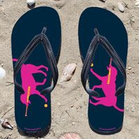 Softball Dog on Navy Flip Flops - Kick back after a softball game with these great flip flops! Fun and functional flip flops for all softball players and fans.