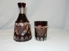 Vintage Pigeon Blood or Ruby Cut to Clear Water Bedside Decanter and Glass