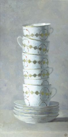 "Gallery Henoch - Olga Antonova, Tower of White Cups, Oil on Canvas, 30"" x 15"""