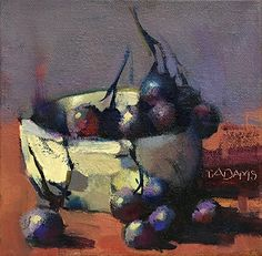 Bowl of Grapes by Trisha Adams Oil ~ 6 x 6
