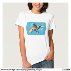 Rainbow bridge african grey parrot shirts. A full color drawing of a flying african grey parrot in blue sky with rainbow and curly clouds, a tribute for afgrey parrots which have passed away, perfect gift ideas for afgrey lovers, owners, parronts and breeders. #africangrey #congotimnehafricangrey #parrotcartoondrawing #restinpeace #angelparrot #rainbowbridge #birdrainbowbluesky #birdgrief #birdloss #petmemorial