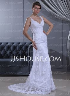 Wedding Dresses - $186.99 - Sheath/Column V-neck Sweep Train Satin Lace Wedding Dress With Ruffle Beadwork (002011630) http://jjshouse.com/Sheath-Column-V-Neck-Sweep-Train-Satin-Lace-Wedding-Dress-With-Ruffle-Beadwork-002011630-g11630