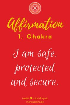 I am safe protected secure rootchakra positive Affirmation self worth self love red chakras yoga meditation selfcare selflove intuition mantra powerfull traumahealing codependency muladhara conditioning negative mind, innerer critizer, NLP thankfull happiness awareness mindfull simplicity zen buddhism  yogaquote now lifestyle yogalifestyle  spiritualitity spiritjunkie Red Chakra, Think Positive Thoughts, Codependency, Yoga Meditation, Law Of Attraction, Self Love, Affirmations, Mindfulness, Positivity