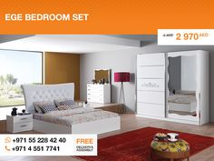 The king size bed features soft padded button-tufted headboard. The whole set also includes two nightstands with two drawers each, two-door wardrobe with mirror, and a dresser with four drawers. More details: http://gtfshop.com/ege-bedroom-set