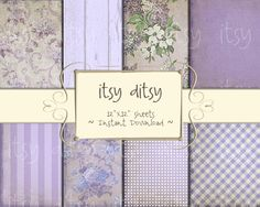 Printable shabby chic digital paper with flower patterns and more! Pretty digital paper for your scrapbook in 8 designs of purple shades!