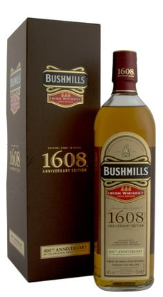 Bushmills 1608 was released in 2008 to celebrate 400 Years of distilling; the whiskey using three types of whiskey and matured in Oloroso sherry and Bourbon Casks. Irish Whiskey Brands, Scotch Whiskey, Best Irish Whiskey, Whisky Bar, Malt Whisky, Blended Whisky, Spiritus, Alcoholic Drinks, Liquor Drinks