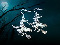 Buy Witch Earrings - Wicked Witch Costume - Witch Jewelry - Personality Jewelry - 925 Sterling Silver Wire at Wish - Shopping Made Fun Gothic Halloween, Spirit Halloween, Halloween Gifts, Halloween Earrings, Halloween Jewelry, Wicked Witch Costume, Flying Witch, Witch Jewelry, Silver Charms