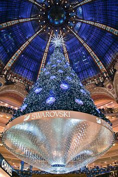 Another stunning Swarovski Crystal Tree! Just stunning in Le sapin des Galeries Lafayette, Paris Christmas In Paris, Blue Christmas, Christmas Lights, Christmas Trees, French Christmas, Cosy Christmas, Christmas Mantles, Christmas Glitter, Christmas Villages