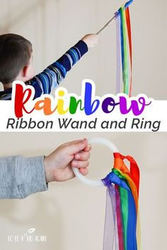 Rainbow Ribbon Streamer Wand and Ring for Movement Activities - Spring Gross Motor - A Rainbow of My Own - So much for fore Preschool, Toddlers, and Older Kids - activity to go with Virtual Book Club . Rainbow Activities, Spring Activities, Infant Activities, Classroom Activities, Learning Activities, Dance Activities For Kids, Preschool Movement Activities, Toddler Gross Motor Activities, Kids Activity Ideas