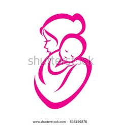 mother and baby stylized vector symbol, mom hugs her child logo template