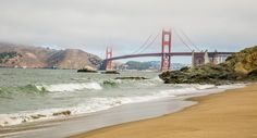 Views of the Golden Gate Bridge from Baker Beach in San Francisco, California