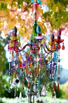 DIY GLASS PAINT CHANDELIER #garden