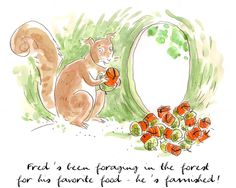 Squirrel with nuts, love Hermes water colors