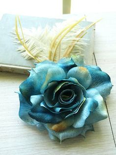 Bluish teal | Aqua | handcrafts, fake rose