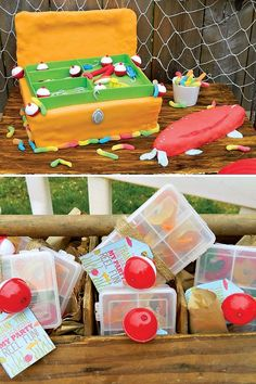 Gone Fishing Theme Joint Birthday Party with cake pop bobbers, tackle box birthday cake, gummy worm tackle box party favors and fishing inspired desserts.